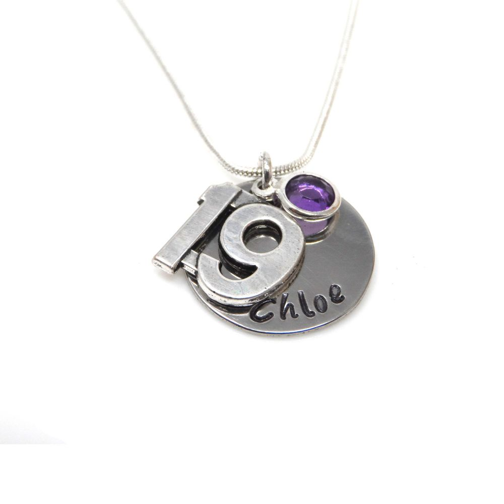 Personalised 19th Birthday Birthstone Necklace - Gift Boxed & Free Delivery UK